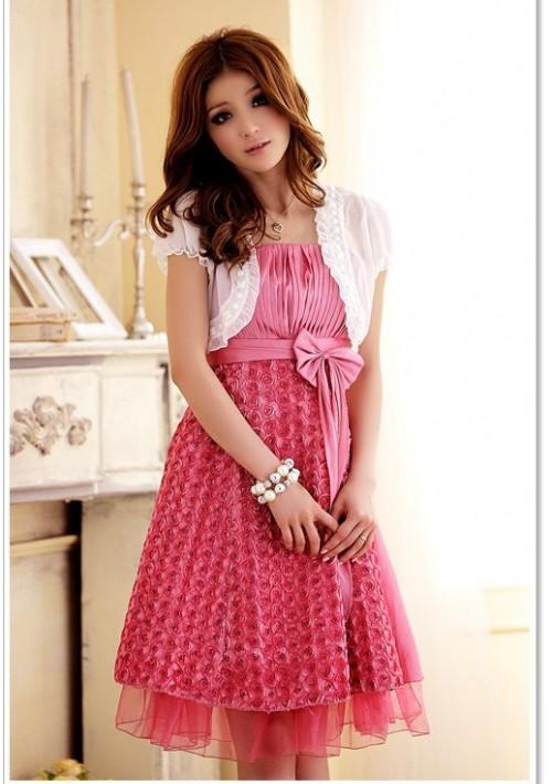 Abiballkleid in Pink mit vielen Blüten - günstig kaufen bei vipdress.de