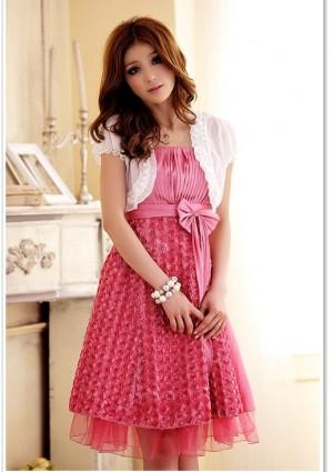 Abiballkleid in Pink mit vielen Blüten - günstig shoppen bei vipdress.de