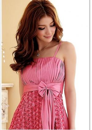 Abiballkleid in Pink mit vielen Blüten - bei vipdress.de günstig shoppen