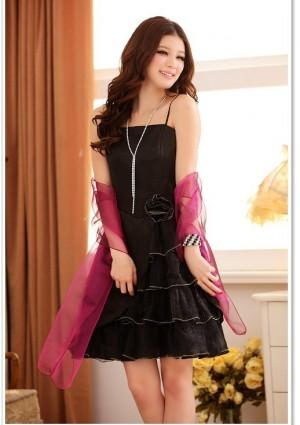 Schwarzes Abiballkleid mit Tüllgewebe und Lagenlook - günstig bestellen bei VIP Dress