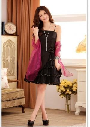Schwarzes Abiballkleid mit Tüllgewebe und Lagenlook - bei VIP Dress günstig kaufen