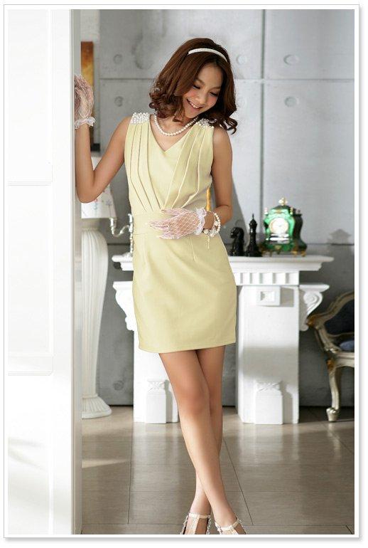 cocktailkleid kurz businesskleid festkleid in gelb. Black Bedroom Furniture Sets. Home Design Ideas