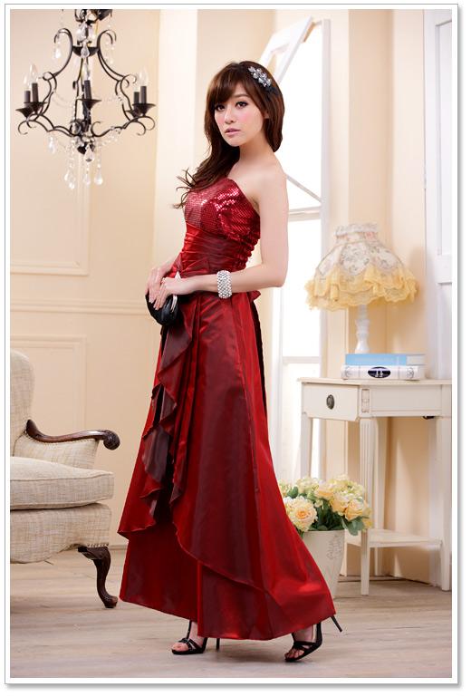elegantes satin abendkleid in lila rot schwarz