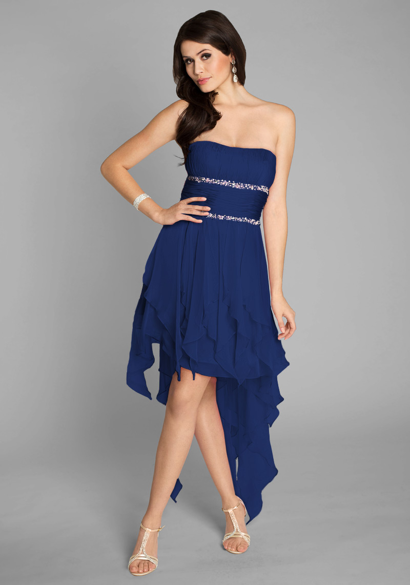 Traumhaftes Ballkleid im Vokuhila Style in Blau Abendkleid ...