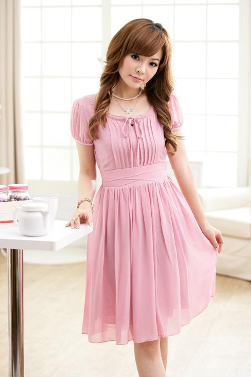 Chiffon Kleid Abendkleid Cocktailkleid Rosa Gr. XS-M | eBay